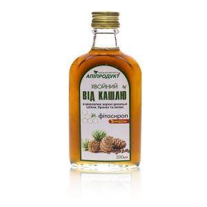 """Фитосироп с медом """"Хвойный от кашля"""", Phyto Syrup with honey, Апипродукт, 200 мл."""