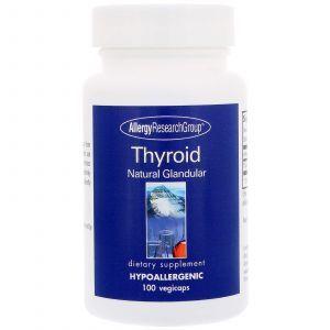 Поддержка щитовидной железы, Thyroid Natural Glandular, Allergy Research Group, 100 кап.