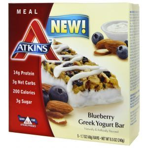 Батончики с греческим йогуртом и черникой, Greek Yogurt Bar, Atkins 5 бат.
