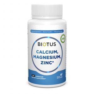 Кальций, магний, цинк и витамин D3, Biotus, 100 капсул