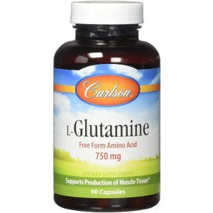 L-глутамин, L-Glutamine, Carlson Labs, 750 мг, 90 капсул
