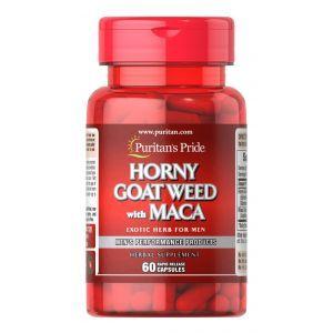 Горянка и Мака, Horny Goat Weed with Maca, Puritan's Pride, 500 мг/75 мг, 60 капсул