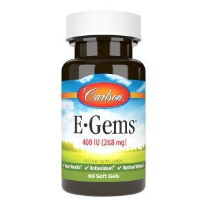 Витамин Е, E-Gems, Carlson Labs, 400 МЕ (268 мг), 60 гелевых капсул