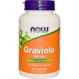 Гуанабана, Гравиола (Graviola), Now Foods, 500 мг, 100 кап