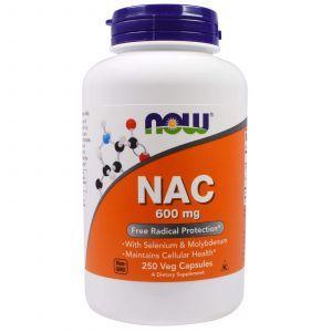 N-ацетилцистеин, NAC, Now Foods, 600 мг, 250 кап