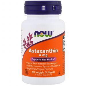 Астаксантин, Astaxanthin, Now Foods, 4 мг, 60 кап