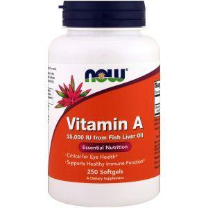 Витамин А, Vitamin A, Now Foods, 25000 МЕ, 250 капсу