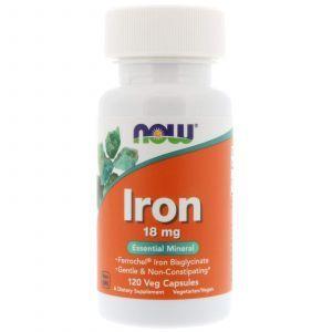Железо, Iron, Now Foods, 18 мг, 120 капс