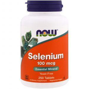 Селен (Selenium), Now Foods, без дрожжей, 100 мкг, 250 табл
