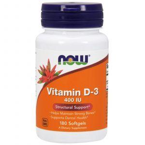 Витамин Д3, Vitamin D-3, Now Foods, 400 МЕ, 180 капс