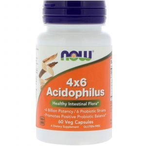Пробиотики, Acidophilus, Now Foods, 60 капсу