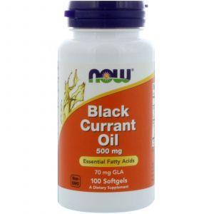 Масло семян черной смородины, Black Currant Oil, Now Foods, 500 мг, 100 кап
