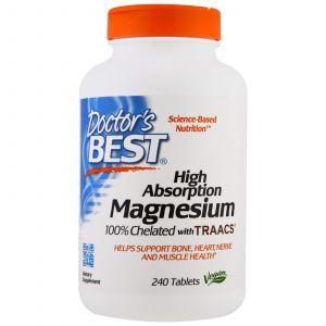 Магний хелат, Magnesium, Doctor's Best, 240 таблето