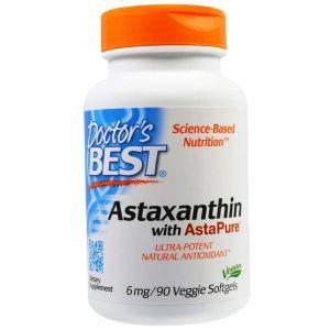 Астаксантин с AstaPure, Astaxanthin, Doctor's Best, 6 мг, 90 капсул