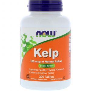 Ламинария, Kelp, Now Foods, 150 мкг, 200 таблет