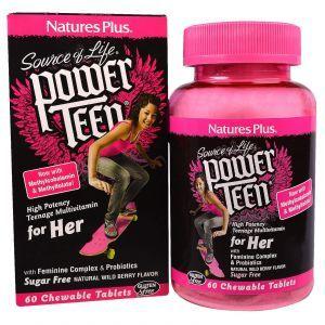 Витамины для девочек, Power Teen, Nature's Plus, Source of Life, ягодный вкус, 60 т