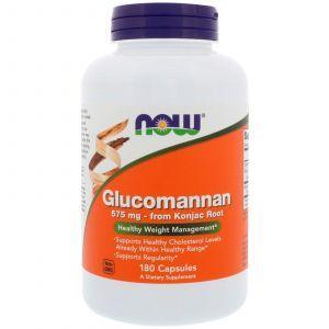 Глюкоманнан, Glucomannan, Now Foods 575 мг, 180 кап
