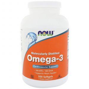 Рыбий жир, Омега-3, Omega-3, Now Foods, 500 гелевых капсу