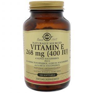 Витамин Е, Vitamin E, Solgar, 400 МЕ, 100 капсу