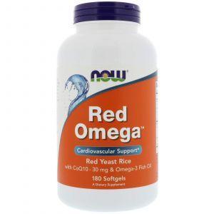 Красный рис и Q10 (Red Omega), Now Foods, 30 мг, 180 капс