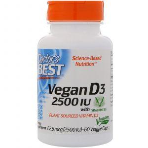 Витамин Д3, Vitamin D3, Doctor's Best, 2500 МЕ, 60 кап