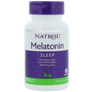 Мелатонин, Melatonin, Natrol, 3 мг, 60 таблето