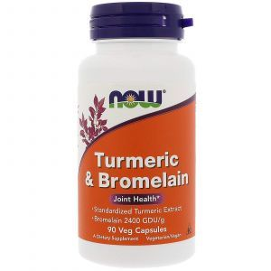Куркума и бромелайн, Turmeric & Bromelain, Now Foods, 90 кап