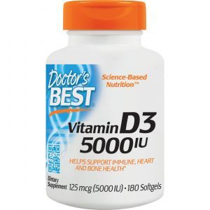 Витамин Д3, Vitamin D3, Doctor's Best, 125 мкг (5000 МЕ), 180 капсул