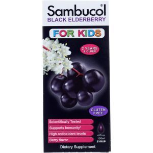 Черная бузина, Black Elderberry, Sambucol, сироп для детей, 120 мл
