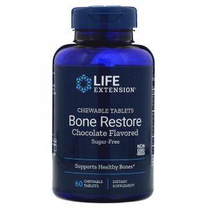 Витамины для костей, вкус шоколада, Bone Restore, Life Extension, без сахара, 60 жевательных таблеток