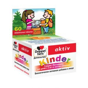 Глицин + В-витамины для детей, Doppel Herz Kinder, 60 жевательных таблеток