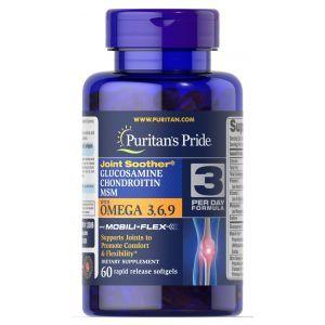 Глюкозамин, хондроитин и МСМ с Омега 3-6-9, Glucosamine, Chondroitin & MSM, Puritan's Pride, 60 гелевых капсул
