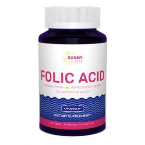 Фолиевая кислота, Folic Acid Powerfull, Sunny Caps, 400 мкг, 100 капсул