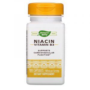Витамин В3, Niacin, Nature's Way, 100 мг, 100 капсул