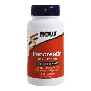 Панкреатин, Pancreatin, Now Foods, 10X 200 мг, 100 капсу