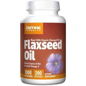 Льняное масло, Flaxseed Oil, Jarrow Formulas, органик, 1000 мг, 200 капсул