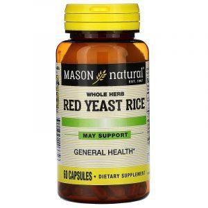 Красный дрожжевой рис, Red Yeast Rice, Mason Natural, 60 капсул