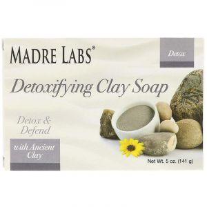 Мыло с глиной, Detoxifying Clay Soap, Madre Labs, детоксифицирующее, эвкалипт и мята, 141 г