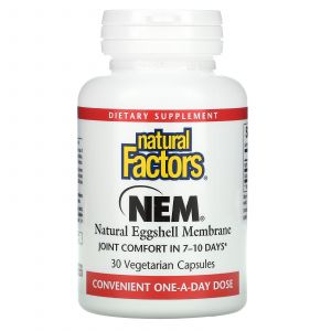 Мембрана из яичной скорлупы, NEM, Eggshell Membrane, Natural Factors, натуральная, 30 вегетарианских капсул