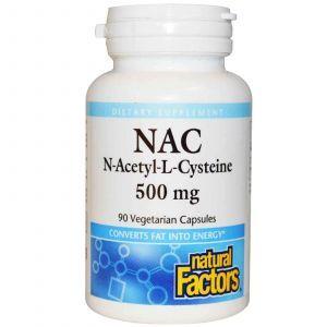 N-ацетинцистеин, Natural Factors, 500мг, 90 кап.