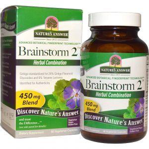 Стимулирование мозговой деятельности, Brainstorm 2, Nature's Answer, 450 мг, 90 кап.