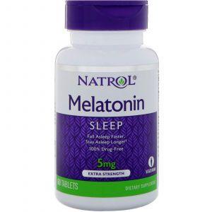Мелатонин, Melatonin, Natrol, 5 мг, 60 таблето