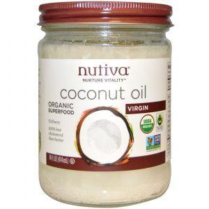 Кокосовое масло холодного отжима, Nutiva, 414 мл