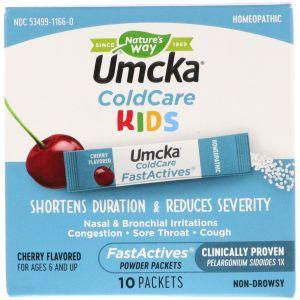 Средство от простуды и кашля, ColdCare Kids, FastActives, Nature's Way, 10 пакетиков