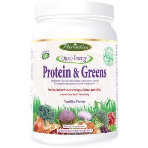 Растительный белок с зеленью, Protein & Greens, Paradise Herbs, 454 г