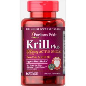Масло криля плюс Омега-3, Krill Oil Plus, Puritan's Pride, 1085 мг, 60 гелевых капсул
