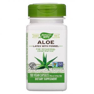 Алоэ вера с фенхелем (Aloe), Nature's Way, 140 мг, 100 капсул