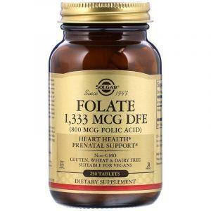Фолат, Folate, Solgar, 800 мкг, 250 таблеток