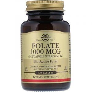 Фолат, Folate, Metafolin, Solgar, 1000 мкг, 120 таблеток