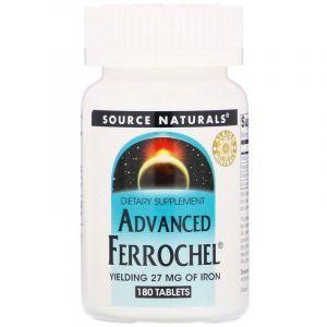 Железо, Advanced Ferrochel, Source Naturals, 180 таблеток
